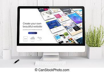 white workspace with computer website builder