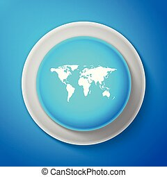 White World map icon isolated on blue background. Circle blue button with white line. Vector Illustration