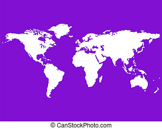 white world map isolated on purple
