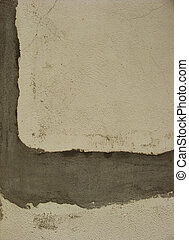 white worn concrete wall with gray repair