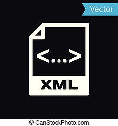 White XML file document icon. Download xml button icon isolated on black background. XML file symbol. Vector Illustration