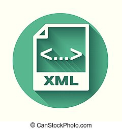 White XML file document icon. Download xml button icon isolated with long shadow. XML file symbol. Green circle button. Vector Illustration