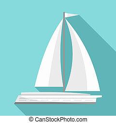 White yacht icon, flat style