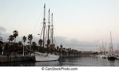 White yacht on port