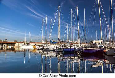 White yachts on an anchor. France. Marseille.