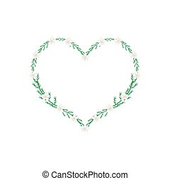 White Yarrow Flowers in A Heart Shape Frame - Love Concept, ...