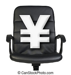 White yen sign stands in chair. Isolated on white background