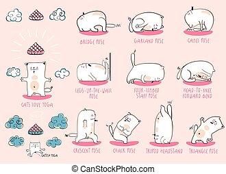 White Yoga Cat set