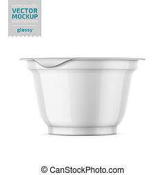 White yogurt pot with foil cover mockup. - Round white...