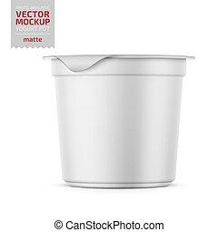 White yogurt pot with foil cover mockup. - Round white matte...