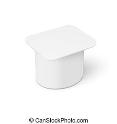 White youghurt pot template.