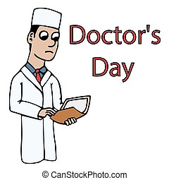 white young cartoon doctor holding a folder with a case history for doctors day. isolated stock vector illustration