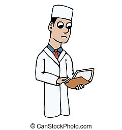 white young cartoon doctor in a coat holding a folder with a case history. isolated vector illustration