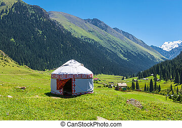 White Yurt in the mountains of Kyrgyzstan. - Beautiful...