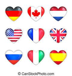 white., zászlók, szív, országok, pohár, ikon, elszigetelt, set.