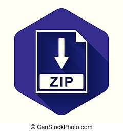White ZIP file document icon. Download ZIP button icon isolated with long shadow. Purple hexagon button. Vector Illustration