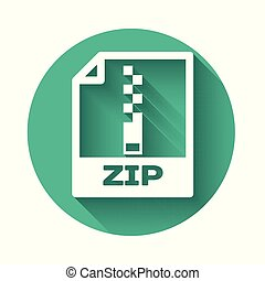 White ZIP file document icon. Download zip button icon isolated with long shadow. ZIP file symbol. Green circle button. Vector Illustration