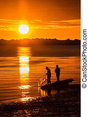 Whitebait Fishing Sunset