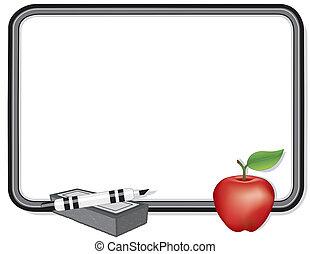whiteboard, äpple, för, den, lärare