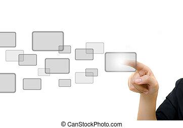 whiteboard., 商业, 按钮推, 年轻, 数字
