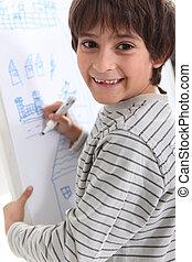 whiteboard, 図画, 子供