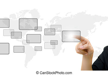 whiteboard., affari, bottone spingendo, giovane, digitale