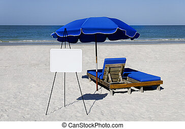 Whiteboard and Umbrella - Blue umbrellas and beach chairs...