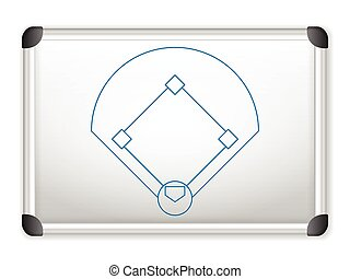 whiteboard baseball - Sport field plan on whiteboard.