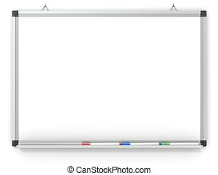 Whiteboard. - Blank Whiteboard mounted on wall. 3x marker...