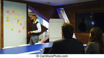 whiteboard, cadre, verre, discuter, 4k