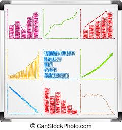 whiteboard, con, diferente, gráficos, y, gráficos