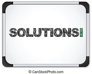 whiteboard, con, soluciones, mensaje, escrito, en, negro