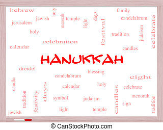 whiteboard, concept, mot, nuage, hanukkah