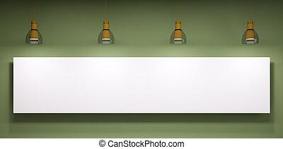 whiteboard, encima, el, pared verde