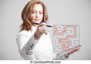 whiteboard., femme affaires, solution, écriture, conclusion, labyrinthe