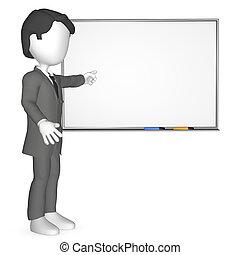 whiteboard, infront, menschliche , 3d