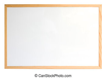 Whiteboard isolated over white - Whiteboard with wooden...