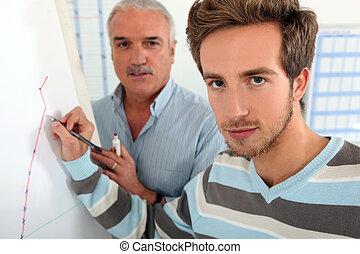 whiteboard, junger mann, schreibende