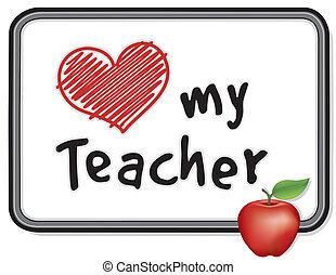 whiteboard, mój, nauczyciel, miłość, jabłko