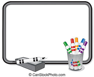 Whiteboard with multicolor marker pens, eraser. Copy space to add your own text, notes or drawings. EPS8 compatible.