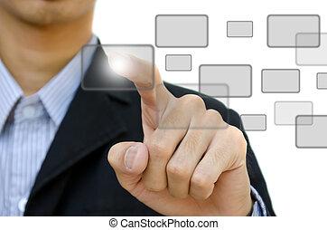 whiteboard., negócio, botão empurra, jovem, digital