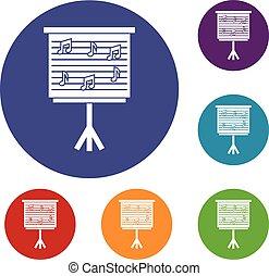 whiteboard, notas, conjunto, música, iconos