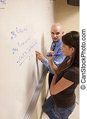whiteboard., portion, étudiant, problème, prof, math