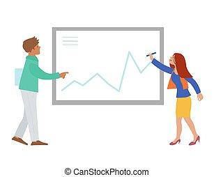 whiteboard presentation - Vector illustration of 2 corporate...