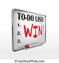 whiteboard, to-do, winnen, lijst, woord