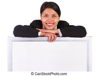 Whiteboard to post message below smiling woman