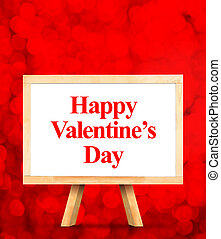 whiteboard with Happy Valentines Day word at red bokeh light background, Love concept