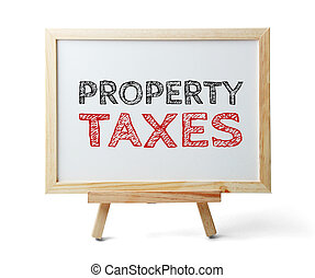 Property Taxes - Whiteboard with text Property Taxes is...