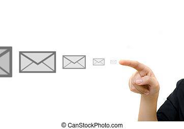 whiteboard., zakelijk, knoop het duwen, jonge, hand, digitale , email