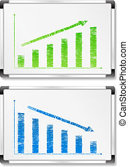 Whiteboards with hand drawn graphs, vector eps10 ...